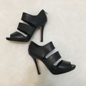 WHBM Black Leather Caged Heels
